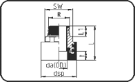 Adaptor - With BSP metal male thread+hexag